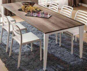 tavolo moderno struttura metallo top rovere arredamenti divani torino