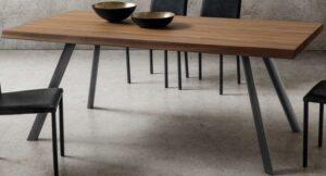 tavolo fisso moderno piano in noce arredamenti divani torino