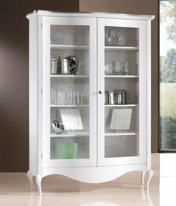 vetrina bianca bombata profili argento mobilificio torino e rivoli