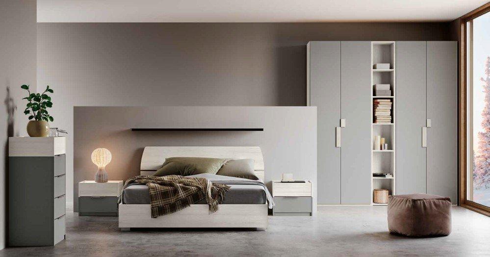 cmare da letto moderna color bianco e argento mobilificio torino e rivoli