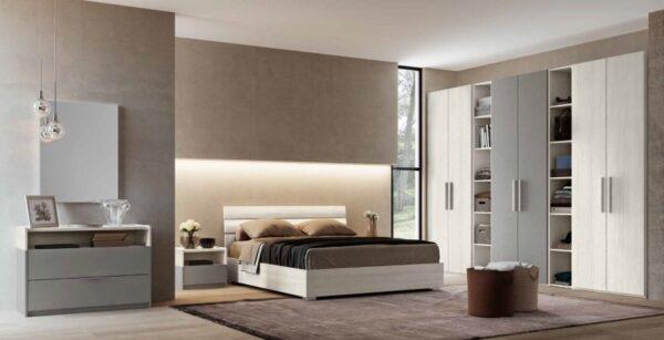 camera da letto con 2 armadi, comò comodino, letto, libreria, specchiera mobilificio torino e rivoli