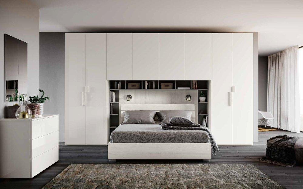 camera da letto moderna color bianco altea, lucido e argento mobilificio torino e rivoli