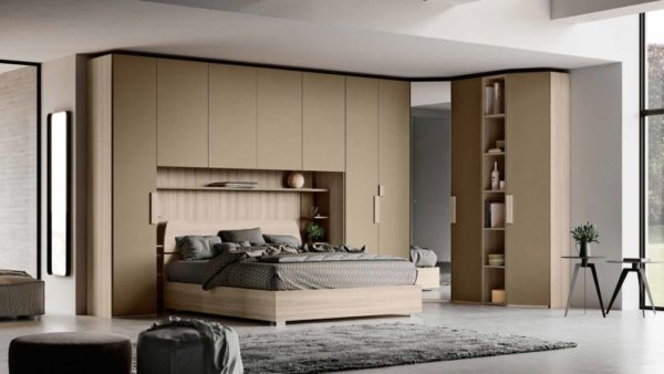 camera ponte moderna color olmo e oro mobilificio torino e rivoli