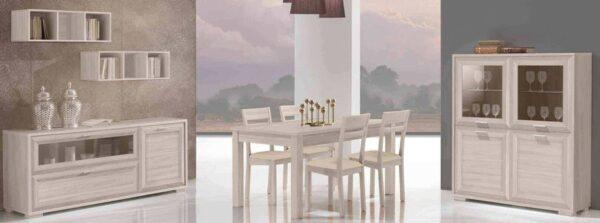 soggiorno con vetrina, libreria, tavolo, credenza mobilificio torino e rivoli