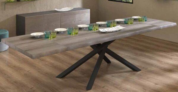 tavolo moderno allungabile top in frassino gambe metallo mobilificio torino e rivoli