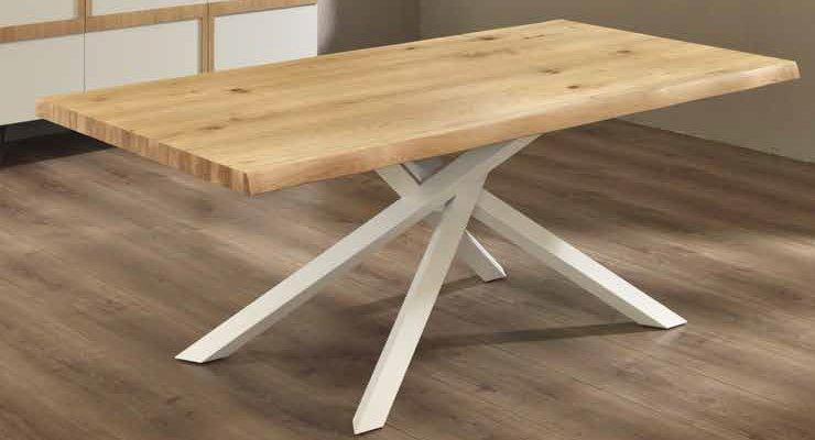 tavolo moderno fisso gambe metallo top in rovere mobilificio torino e rivoli
