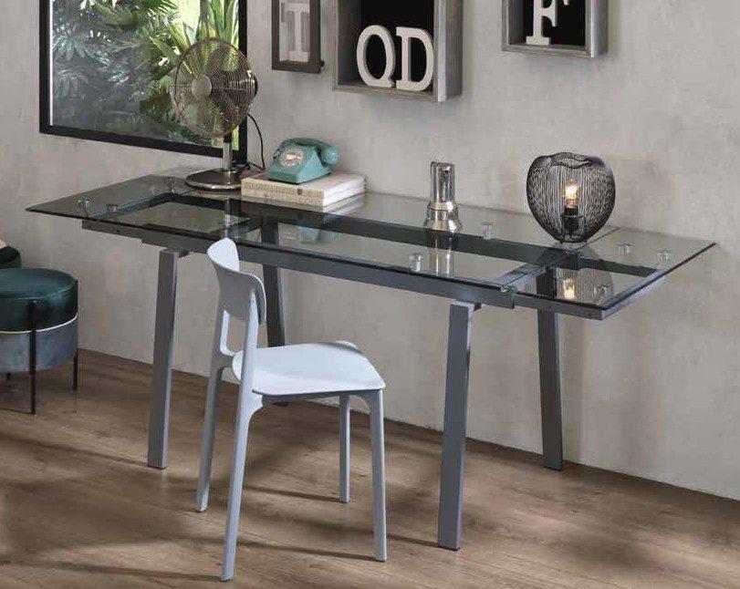 tavolo top in vetro gambe metallo grigio mobilificio torino e rivoli