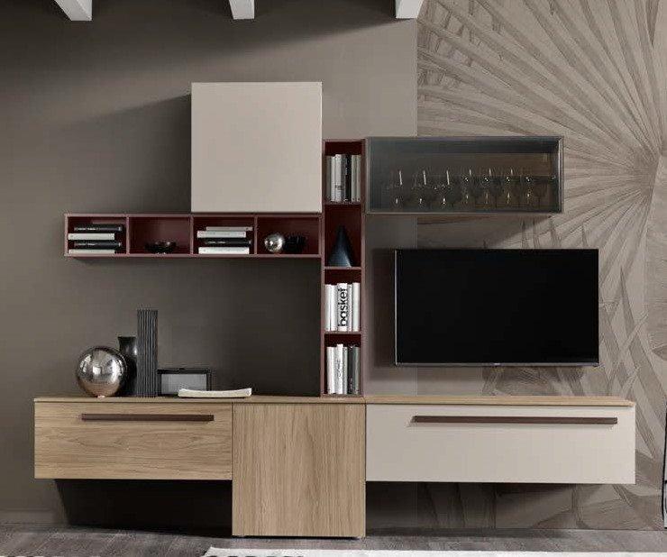 soggiorno noce naturale e rosso mobilificio torino e rivoli
