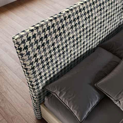 angolo letto matrimoniale tessuto grigio mobilificio torino e rivoli