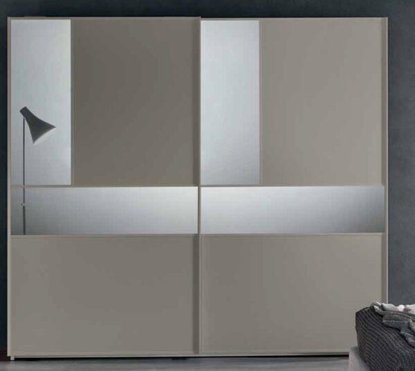 armadio grigio con inserti specchi mobilificio torino e rivoli