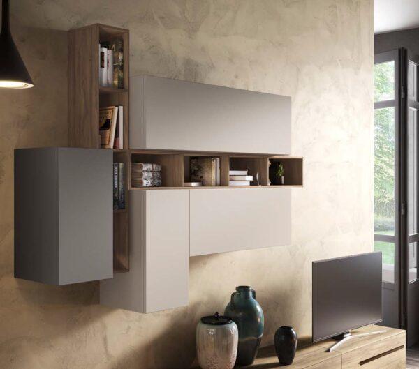 pensili soggiorno 2 tonalità di noce mobilificio torino e rivoli