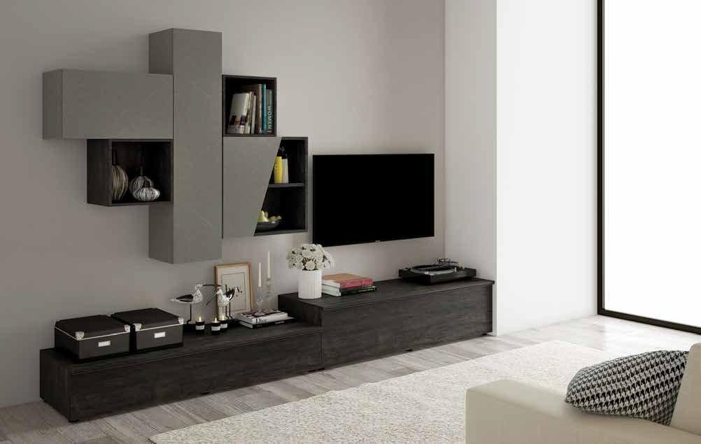 soggiorno color Legno bruciato, Graniglia scura mobilificio torino e rivoli