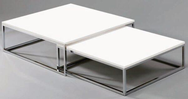 set di 2 tavolini top in legno bianco mobilificio torino e rivoli