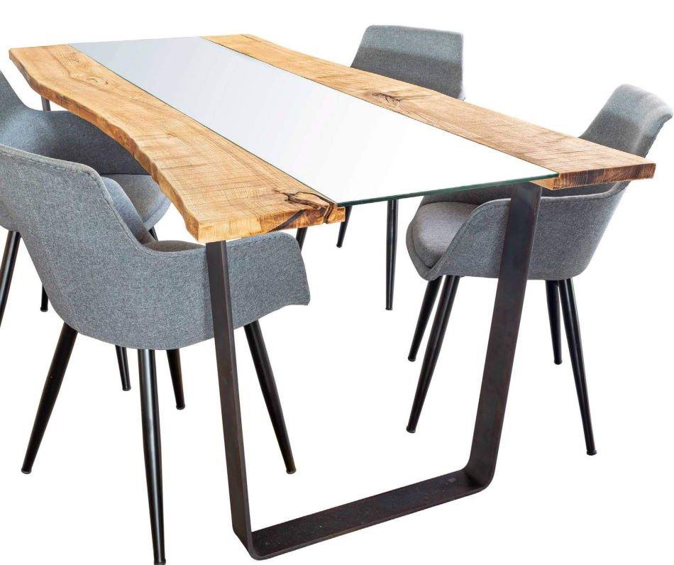 Tavolo Piano in rovere naturale e vetro mobilificio torino e rivoli