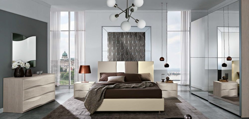camera da letto con comò comodini e armadio 2 ante con specchi mobilificio torino e rivoli