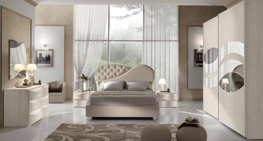 camera da letto con armadio 2 ante scorrevoli, comò, comodini e specchio mobilificio torino e rivoli