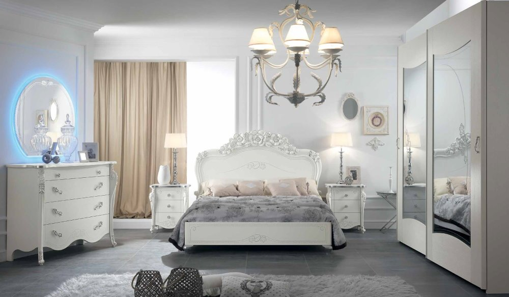 camera da letto con armadio ante scorrevoli, comò, comodino e specchio mobilificio torino e rivoli