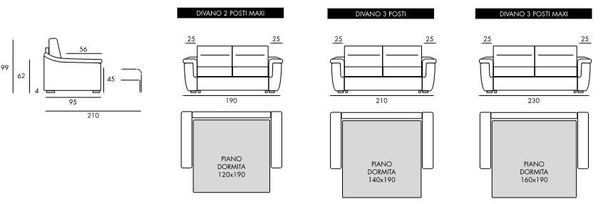 schema dimensioni divano letto viola mobilificio torino e rivoli