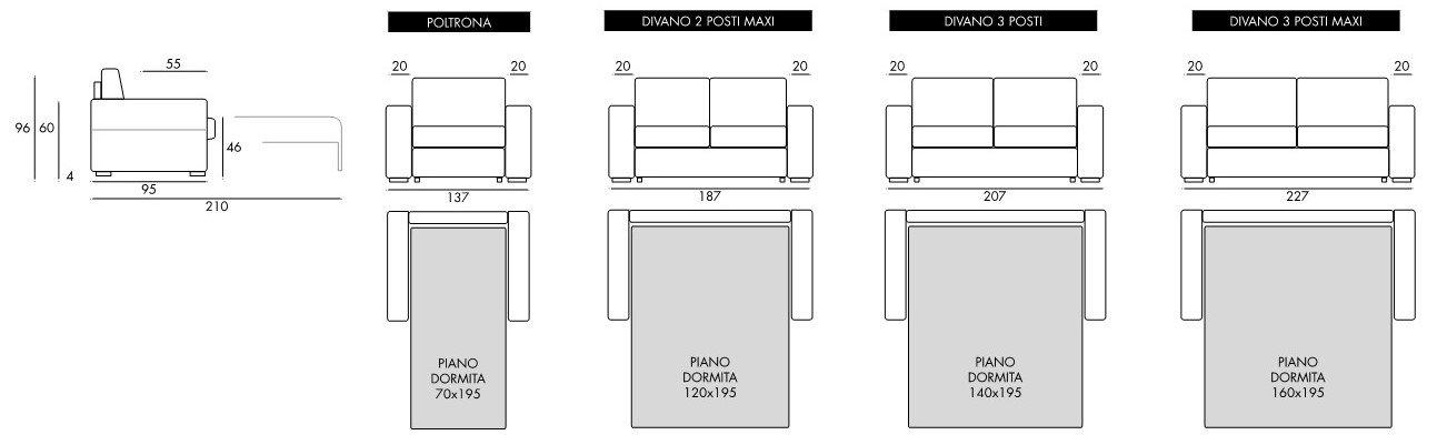 dettagli misure divano letto bianco mobilificio torino e rivoli