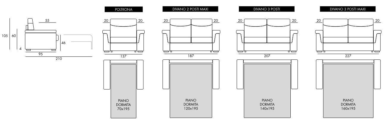 schema misure divano letto color caffelatte mobilificio torino e rivoli
