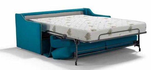divano letto blu completamente aperto mobilificio torino e rivoli