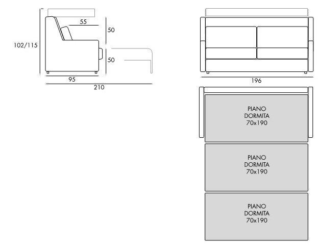 schema misure divano tre posti