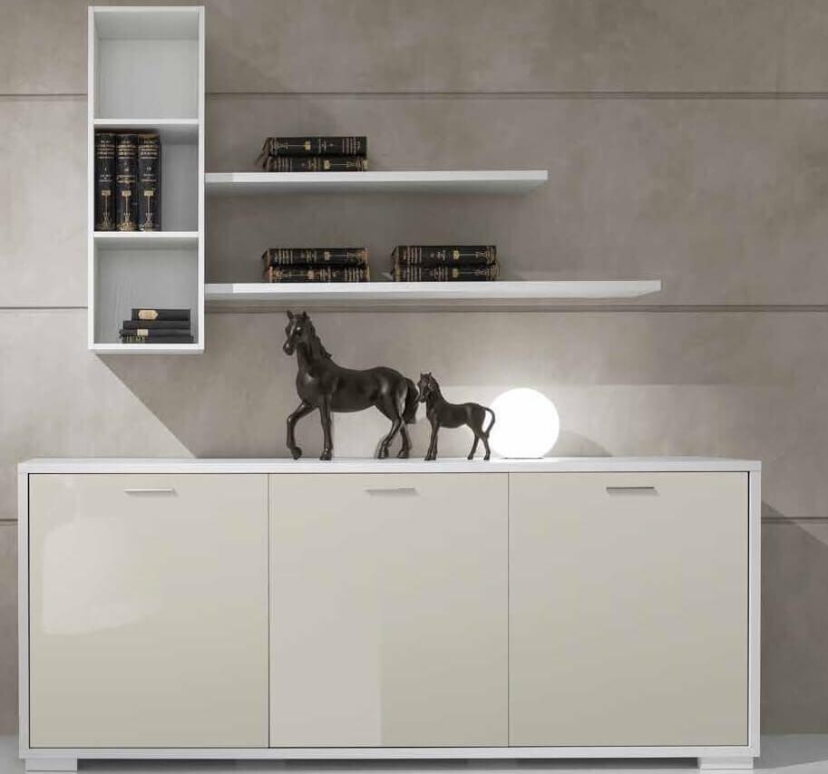 soggiorno bianco e perla con cestone, mensole e libreria mobilificio torino e rivoli