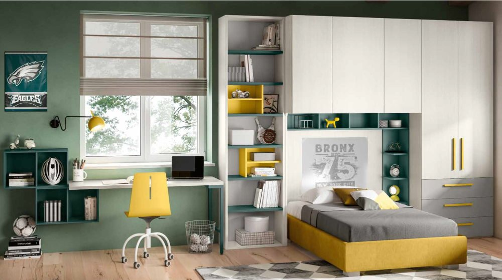 cameretta per ragazzi verde e senape mobilificio torino e rivoli