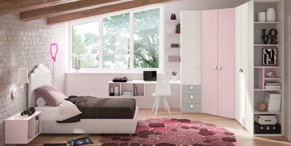 cameretta ragazzi bianca e rosa mobilificio torino e rivoli
