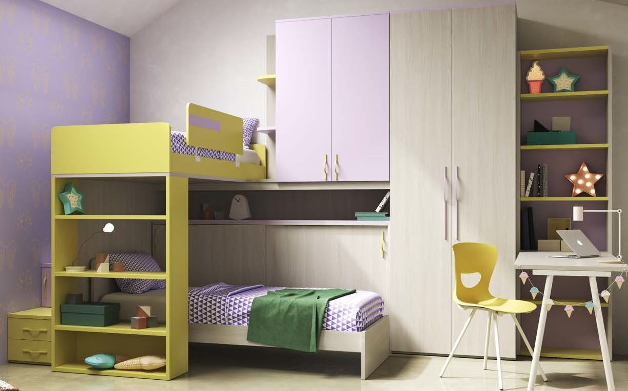 cameretta per ragazzi legno, lime e lilla mobilificio torino e rivoli
