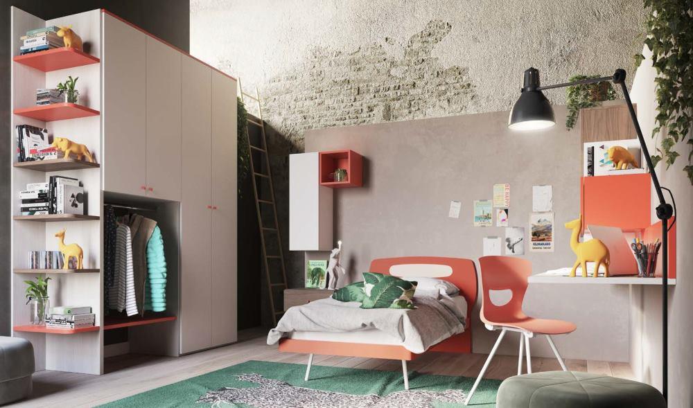 cameretta per ragazzi rossa, noce e bianca mobilificio torino e rivoli