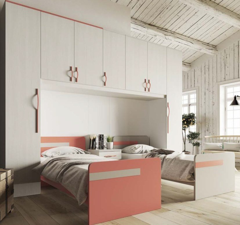 cameretta per ragazzi bianca, rossa, visone, legno mobilificio torino e rivoli