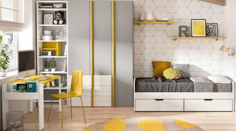 cameretta per ragazze gialla grigia e bianca mobilificio torino e rivoli