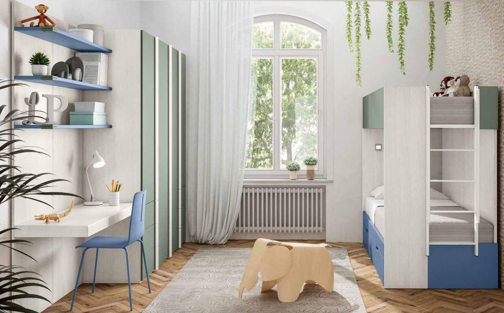 cameretta per ragazzi blu biance e agave mobilificio torino e rivoli