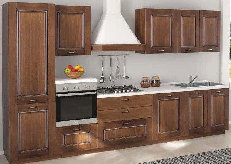 cucina classica con colonna frigo, forno, basi pensili ed elettrodomestici mobilificio torino e rivoli