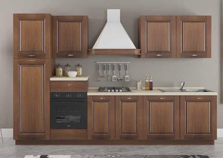 cucina classica con basi, colonna frigo, forno pensili ed elettrodomestici mobilificio torino e rivoli