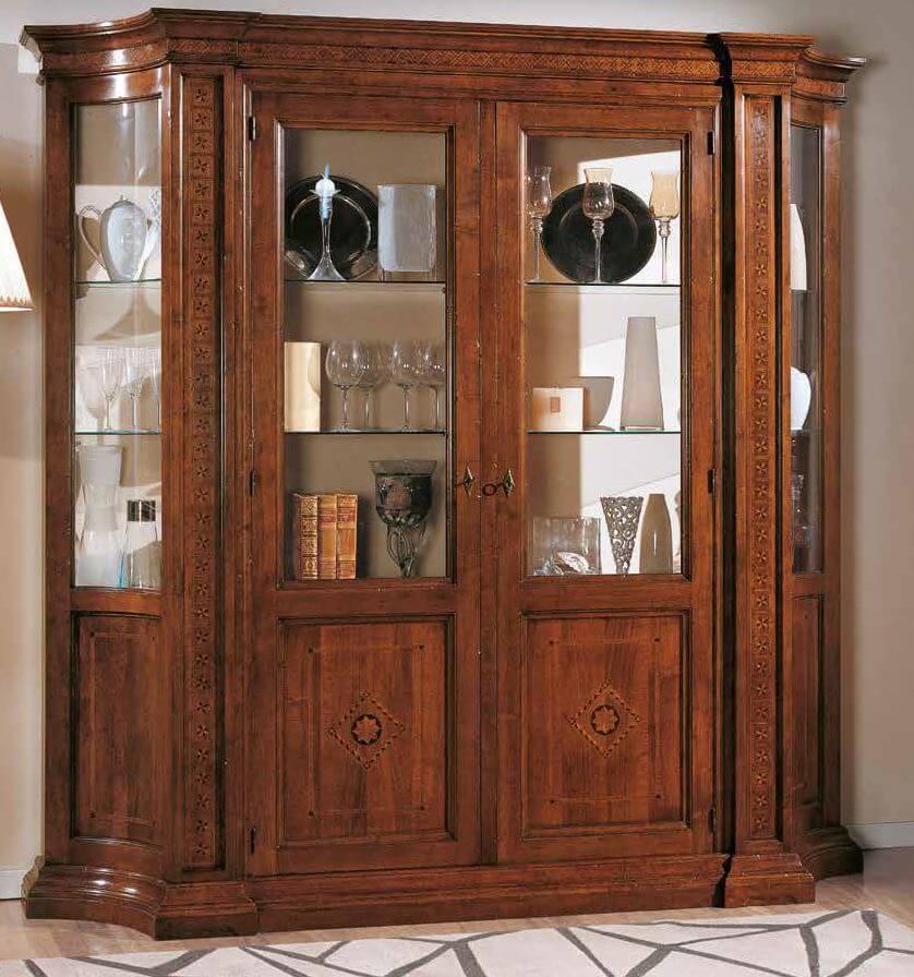 vetrina intarsiata 2 porte 2 ripiani mobilificio torino e rivoli