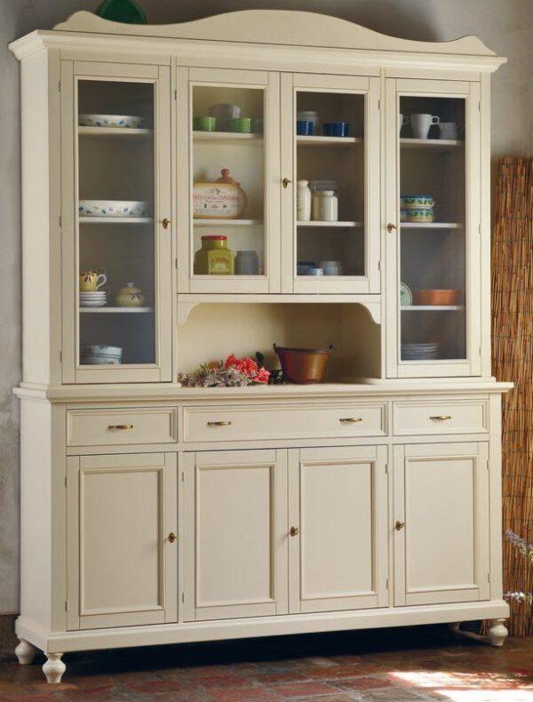 credenza con alzata 4 porte 3 cassetti color sabbia mobilificio torino e rivoli